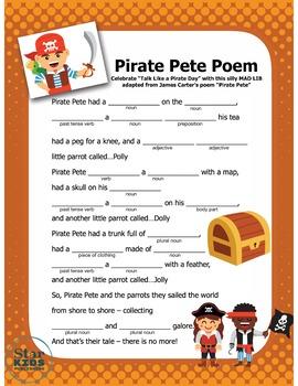 Talk Like a Pirate Madlib (interactive PDF and Google Slide)