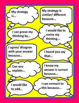 Talk Moves Sentence Starter Printable Poster