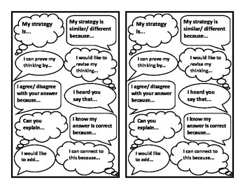 Talk Moves Sentence Starters Printable