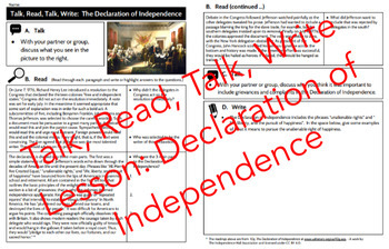 Talk, Read, Talk, Write Lesson:  The Declaration of Independence