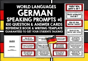 GERMAN SPEAKING PROMPTS - 100 CARDS & REFERENCE BOOKLET (1)