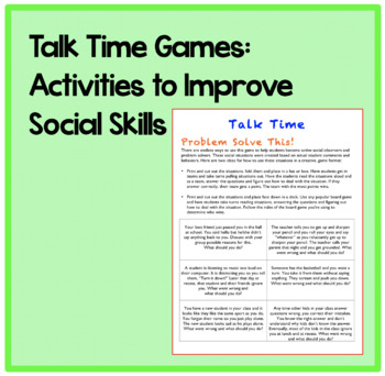 Talk Time Games: Activities to improve social skills