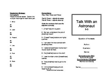 Talk With An Astronaut Trifold (Reading Street 2011 Edition)