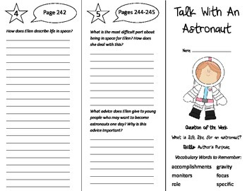 Talk With an Astronaut Trifold - Reading Street 5th Grade