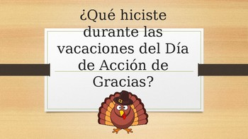 Talk about Thanksgiving Break Activities in Spanish