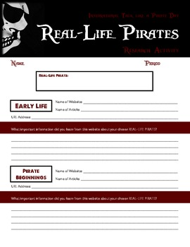 """""""Talk like a Pirate Day"""" - Fun Research Activity"""