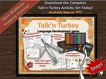 Talk'n Turkey Thanksgiving Reading Comprehension Freebie!