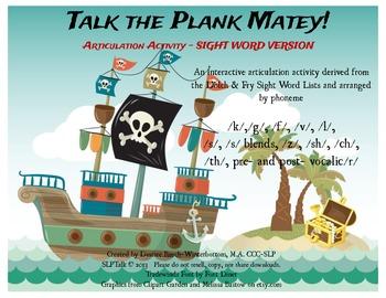 Talk the Plank Matey!! - SIGHT WORD ARTICULATION