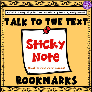 Talk to the Text Interactive Sticky Note Bookmarks