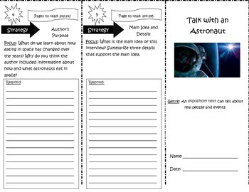 Talk with an Astronaut Trifold Reading Street 5th Grade Unit 5 Week 3