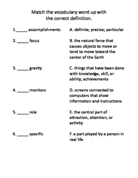 Talk with an Astronaut Vocabulary Test and Vocabulary Dominoes