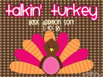 Talkin' Turkey Basic Addition Sort 1-18
