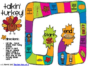Talkin' Turkey Speech Therapy Thanksgiving Articulation Packet for /k/