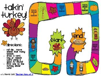 Talkin' Turkey Speech Therapy Thanksgiving Articulation Packet for /k/