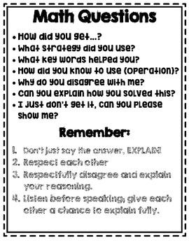 Talking About Math- Sentence Stems