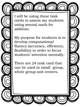 Talking About Numbers Task Cards Addition