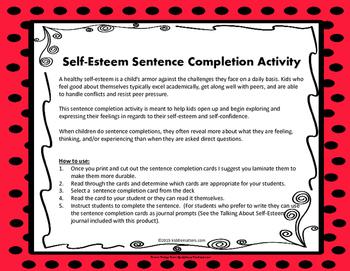 Self-Esteem Sentence Completion Activity