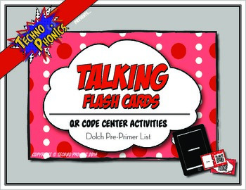 Talking Flash Cards - QR Code Differentiated Center Activities - Pre-Primer