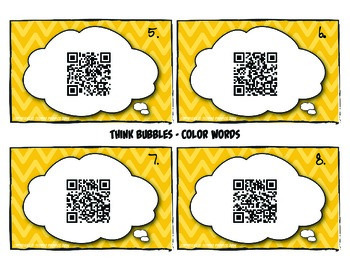 Talking Flash Cards - QR Code Differentiated Center Activities - Color Words