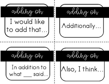 Talking Moves Sentence Starters for Collaborative Conversations {ESL}