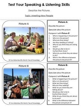 Talking Picture Cards {Introductions & Meeting People ESL Listening & Speaking}