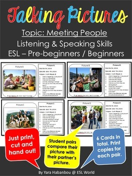 Talking Picture Cards {Introductions & Meeting People ESL