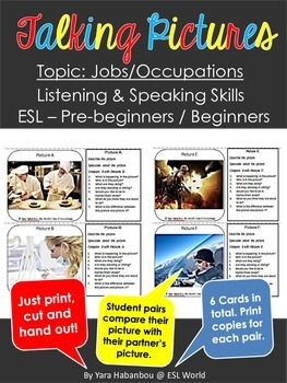 Talking Picture Cards {Jobs/Occupations ESL Listening & Speaking}
