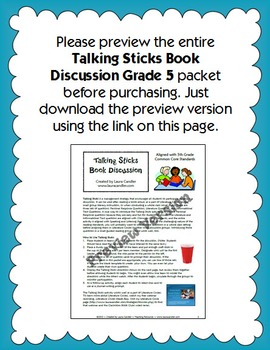 5th Grade Reading Discussion Activity and Task Cards with CCSS Questions