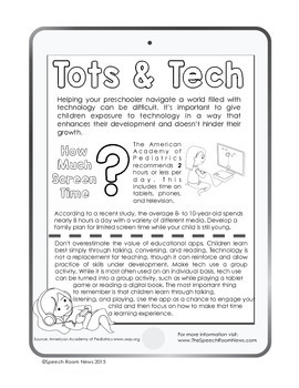 Talking Through Tech: Apps for Early Communicators Parent Handouts