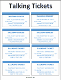 Talking Tickets - PBIS Impulse Control ADHD Anger Mgt. Blurting Interrupting