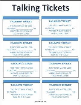Talking Tickets - PBIS Impulse Control ADHD Anger Mgt. Blu