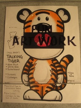Talking Tiger Mascot Puppet. Fun Craft Art