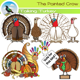 Turkey Clipart - 16 Piece Thanksgiving Day Set - Color and Blackline Graphics