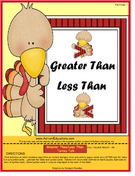 Talking Turkey Math {Greater, Less, Equal}