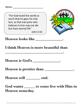 Talking about Heaven with young kids Kindergarten-2nd