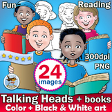 24 kids back to school Clip art's - students reading - color + black and white