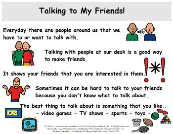 Talking to My Friends - Social Story