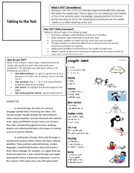 Talking to the Text Cheat Sheet for kids