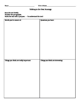 Talking to the Text Graphic Organizer