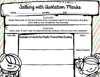 Talking with Quotation Marks-Student Recording Sheet