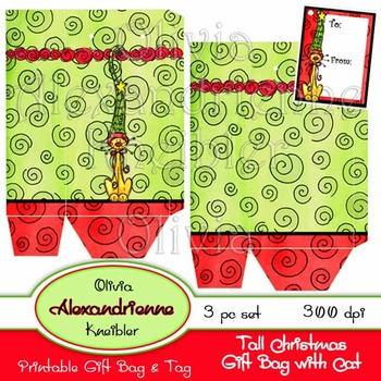 Tall Christmas Gift Bag with Cat and Tag