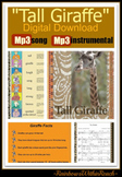 """Tall Giraffe"" Jungle Animal Song for Digital Download on Mp3  Support Materials"