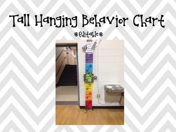 Tall Hanging Behavior Chart Editable (Black & White Chevron)