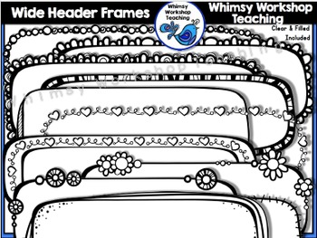 Tall Header Frames Clip Art  - Whimsy Workshop Teaching