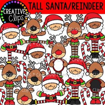 Tall Santas and Reindeer {Christmas Clipart}
