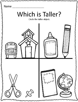 Tall & Short Back to School Measurement Worksheets