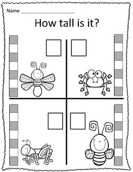 Tall & Short Bugs Measurement Worksheets
