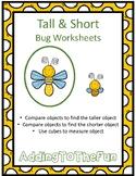 Tall & Short Bugs Measurement Worksheets