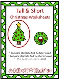 Tall & Short Christmas Measurement Worksheets