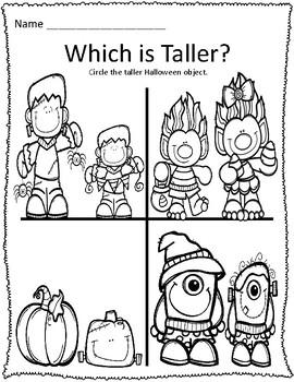 Tall & Short Halloween Measurement Worksheets